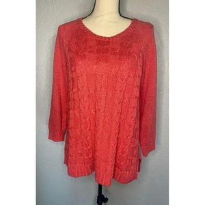 Talbots Coral Knit Cable Sweater